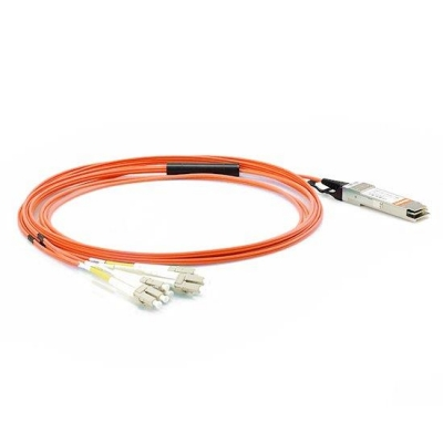 30m(98.4ft) Customized Compatibility 40G QSFP+ to 4 Duplex LC Breakout Active Optical Cable