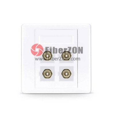 4Port ST Simplex APC OS2 Single Mode Fiber Optic Wall Plate Outlet, Straight