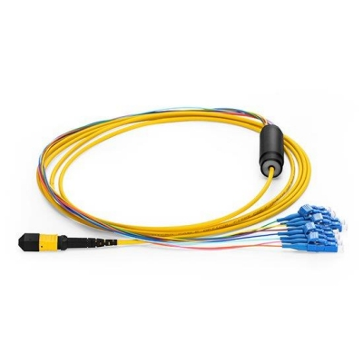 3M MTP Female to 4 LC UPC Duplex 8 Fibers OS2 9/125 Singlemode Harness Cable, Polarity A, Elite, LSZH Bunch