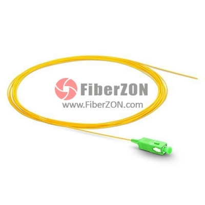 1M Simplex SC/APC 9/125 Singlemode Fiber Optic Pigtail 0.9mm PVC Jacket