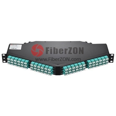 96 fibers 8x MTP12 to LC/UPC 10G OM4 1U Ultra Density Patch Panel Angled, MTP Male Elite IL 0.35dB, Polarity A