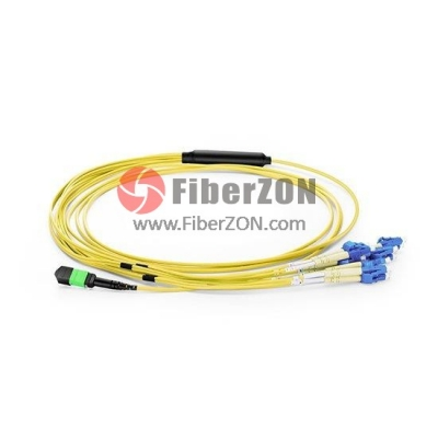 5M MTP Female to 6 LC UPC Duplex 12 Fibers OS2 9/125 Singlemode Harness Cable, Elite, LSZH Bunch
