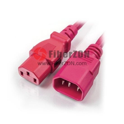 3m(10ft) 18AWG 250V/10A Power Cord (Locking C14 to C13), Red