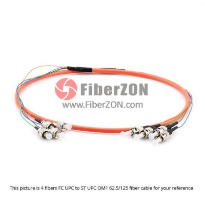 4 Fibers SC to FC OM1/OM2 Multimode MultiFiber PreTerminated Breakout Trunk Cable