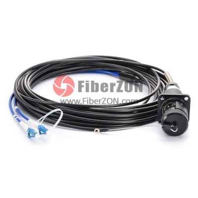 2 Fibers WallMounted Military Field Connector to LC/SC/ST/FC Fiber Optic Patch Cable