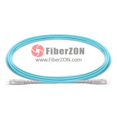 1m SC UPC to SC UPC Simplex 2.0mm PVC(OFNR) 10G OM4 Multimode Fiber Optic Patch Cable