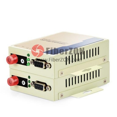 Industrial RS232 to Singlemode Simplex Fiber Converter, FC Connector, 1310nm/1550nm 20km