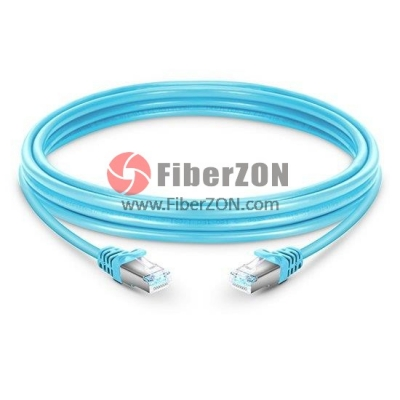 Cat6a Snagless Shielded (STP) Ethernet Network Patch Cable, Aqua PVC, 2m (6.56ft)
