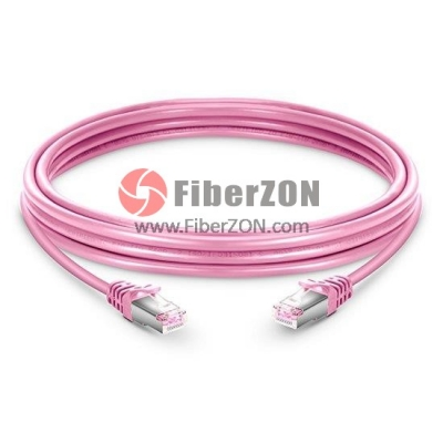Cat6 Snagless Booted Shielded (STP) Ethernet Network Patch Cable, Pink PVC, 60m (196.85ft)