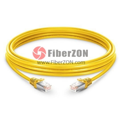 Cat6 Snagless Booted Shielded (STP) Ethernet Network Patch Cable, Yellow PVC, 60m (196.85ft)