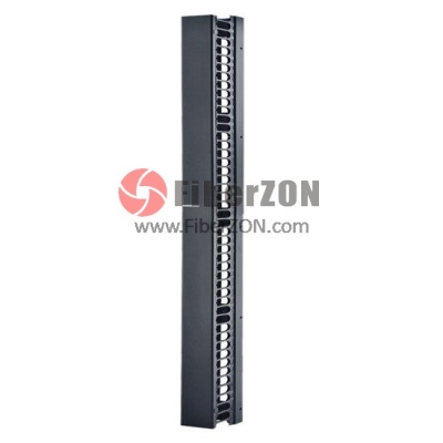 "45U 6.7"" Wide Metal Single Sided Vertical Cable Management (2)22.5U Sections With Cover"