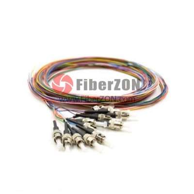 1M 12 Fibers ST/UPC SingleMode ColorCoded Fiber Optic Pigtail, Unjacketed