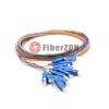 1M 12 Fibers SC/UPC SingleMode ColorCoded Fiber Optic Pigtail, Unjacketed