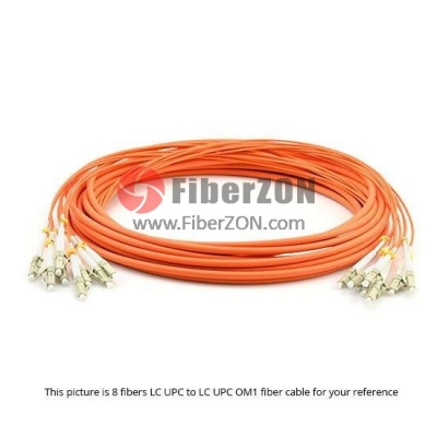 10M LC UPC to LC UPC 62.5/125 OM1 24 Fiber MultiFiber PreTerminated Cable 2.0mm PVC Jacket