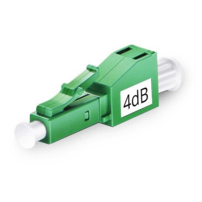 LC/APC Singlemode Fixed Fiber Optic Attenuator, MaleFemale, 4dB