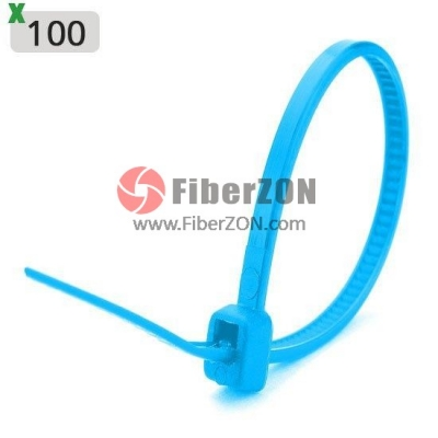 100pcs/Bag 8in.L x 0.2in.W SelfLocking Nylon Cable TiesBlue