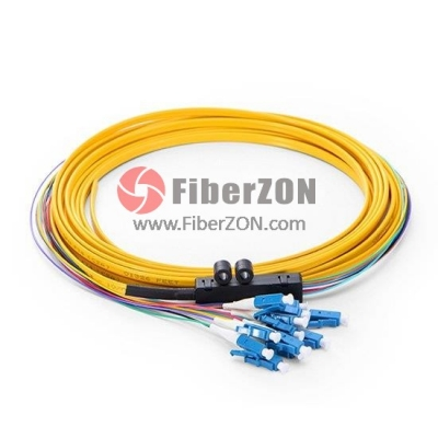 5M 12fiber LC/UPC 9/125 Singlemode Ribbon Fanout Fiber Optic Pigtail 0.9mm PVC Jacket