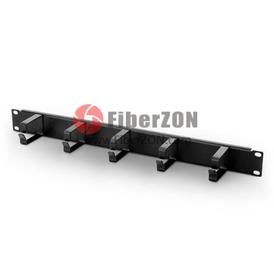 1U Metal Horizontal Cable Management Panel with 5 Rings