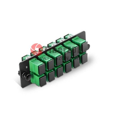 Fiber Adapter Panel with 12 SC APC Simplex OS2 Singlemode Adapters (Green), Zirconia Ceramic