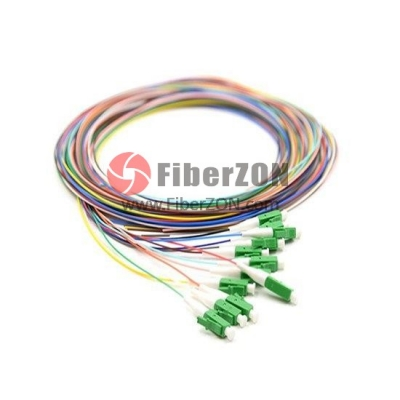 1M 12 Fibers LC/APC SingleMode ColorCoded Fiber Optic Pigtail, Unjacketed