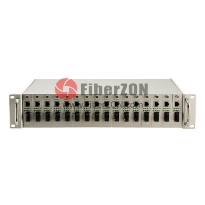 17 Slots 10/100M and 10/100/1000M Managed Fiber Media Converter Rack Chassis