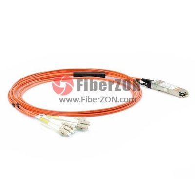 30m(98.4ft) Generic Compatible 40G QSFP+ to 4 Duplex LC Breakout Active Optical Cable [fz07522]