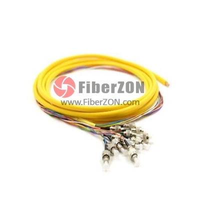 1.5M 12 Fibers FC/UPC 9/125 Singlemode Bunch Fiber Optic Pigtail 0.9mm PVC Jacket