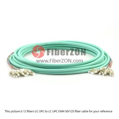 48 Fibers ST to ST 10G OM4 50/125 Multimode MultiFiber PreTerminated Breakout Trunk Cable