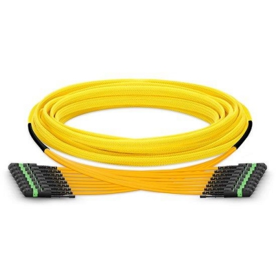 Custom 96 Fibers 8xMTP12 Trunk Singlemode OS2 9/965 HD BIF Fiber Optic Cable, LSZH Bunch, 10/40/100GBASE Interconnect Solution